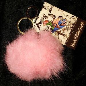 Pink Fur Pom Pom Key Chain Purse Charm